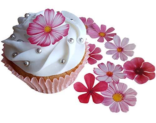 - Kuchendekoration, schöne rosa Blumen, vorgeschnittenes, essbares Reis-, Oblatenpapier. Dekoration für Cupcakes, Kuchen, Desserts. Für Geburtstagspartys, Hochzeiten, Babypartys., Flowers