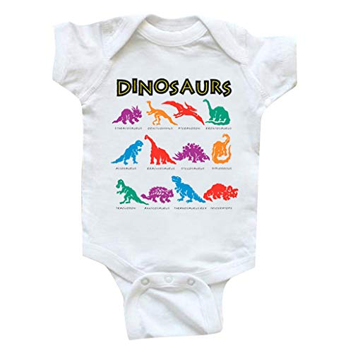 TEFIIR Neugeborenes Baby Baby Boy Jumpsuit Bodysuit Straps Dinosaurier Strampler Outfits Farbe Dinosaurier Alphabet Ha-Shirt Overall