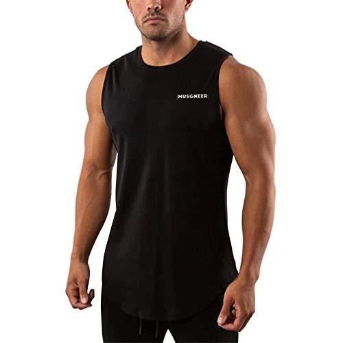 Musgneer(マスリエ) タンクトップ メンズ トレーニング ノースリーブ スポーツウェア 筋トレ Tシャツ ランニング トップス 大きなサイズ 9色 ブラック L