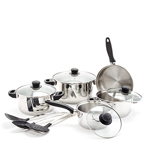 Old Dutch 12 Pc Set & Kitchen Tools Cookware Sets, Stainless Steel, Black