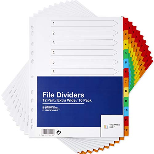 [10 Pack] A4+ Extra Wide File Dividers | A4+ Extra Wide Subject Dividers Multipunched Reinforced Colour Tabs 150gsm