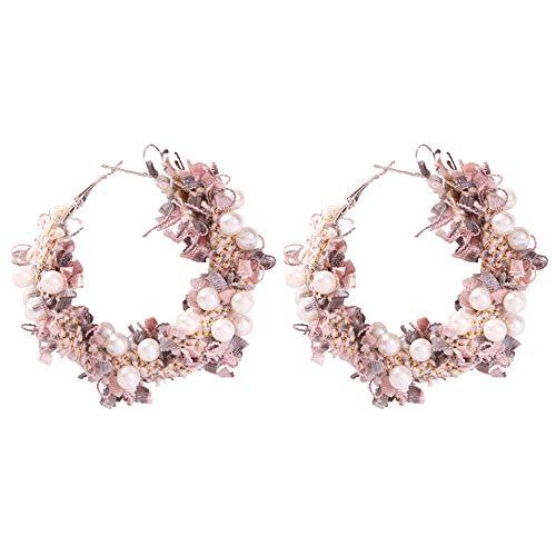 Pendientes de flores de tela de perlas de imitación europeas, pendientes de moda y versátiles para damas hermosas, rosa púrpura claro de 2.3 pulgadas