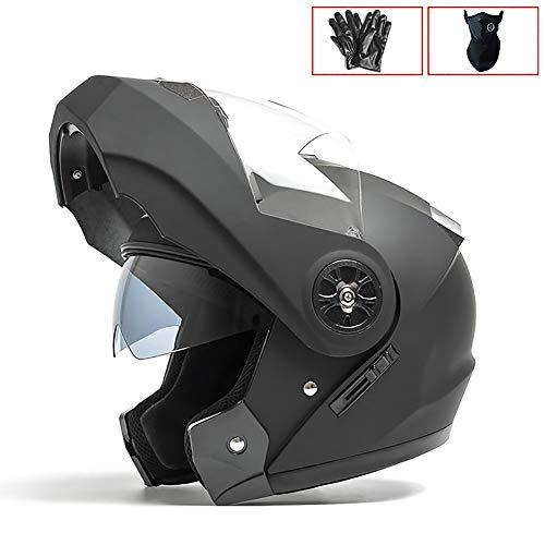MTTKTTBD Klapphelme Motorrad-Helm,Retro Mofa-Helm Scooter-Helm Bobber Chopper Crash Cruiser Racing Locomotive,Roller-Helm Integralhelm mit Anti-Fog Doppelvisier