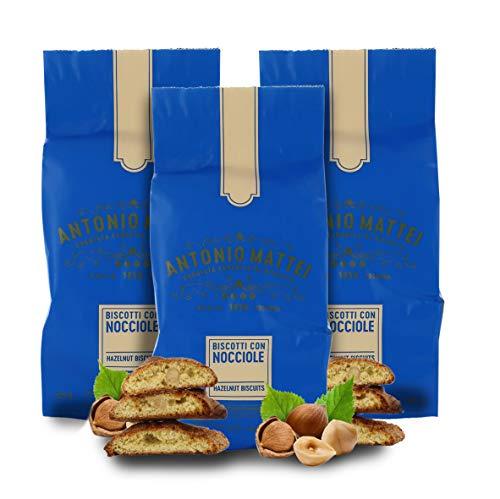 Biscotti alle Nocciole Piemonte IGP, Cantucci con Nocciola Piemonte, Sacchetto 125g (Confezione da 3 Pezzi)