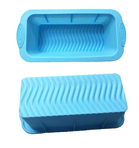 SOHAPY Silicone Bread Loaf Pan Baking Mould Non-Stick BPA-free Bakeware Bread and Meat Loaf Pan for Homemade Cakes Breads Meatloaf Set of 2 (Blue)