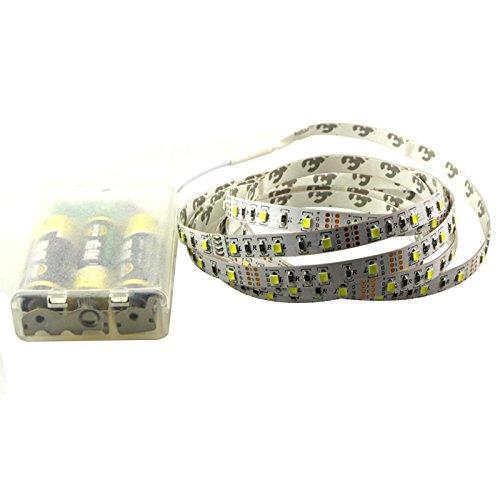 Tiras LED de iluminación 1M/2M/3M/4M/5M DC5V 60Leds multicolor 3528 SMD RGB LED Flexible tira de iluminación kit completo con caja de batería para decoración del hogar - 3M blanco cálido