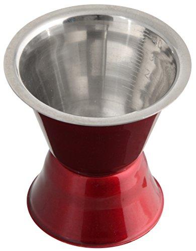 Fackelmann Cocktailmaß GRANDCRU, Messbecher für Spirituosen, Barmaß aus Edelstahl (Farbe: Rot/Silber), Menge: 1 Stück