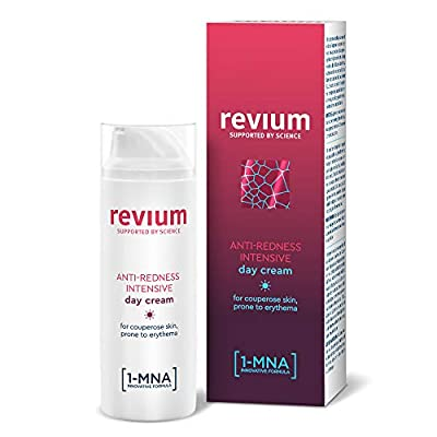 Revium Rosacea Anti-Redness Intensive Day Cream for Couperose Skin Prone to Erythema, with UVA and UVB Filters, 1-MNA Molecule, Corallina Officinalis Red Algae Extract, Acerola Fruit, 50ml by Pharmena S.A.