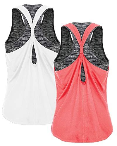 FAFAIR 2per Pack Yoga Shirt Lauftop Tanktop und Sport BH Damen Shirt Training mit integriertem BH White&Coral M