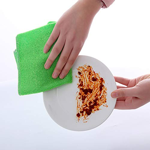 DishyKooker 24 stuks 30x30 cm microvezel handdoeken voor servies auto reinigen blauw + donkergroen + lichtroze + geel