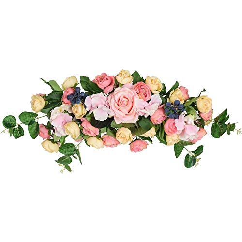 Youmine Swag de rosas y hortensias, guapo decorativo con rosas rosas, hojas verdes para decoración de arco de boda, puerta delantera, pared o ventana
