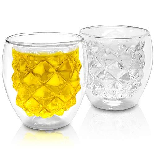 Lutopic Juego de vasos de doble pared [soplados por boca] – Vaso de té, cóctel, zumo, café, vaso infantil, regalo de té, vasos térmicos