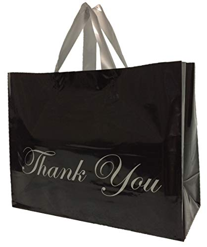 Plastic Thank You Bags with Handles Large Reusable Shopping Frosted Black Glossy Merchandise (50 Bags) 13x10x5 Premium Quality 4 Mil Grocery Retail Boutique with Cardboard Bottom
