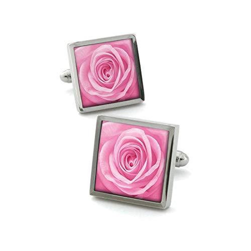 Robert Charles. Boutons de Manchette. Fleur de Rose, Acier rhodié. Rose, Motifs.