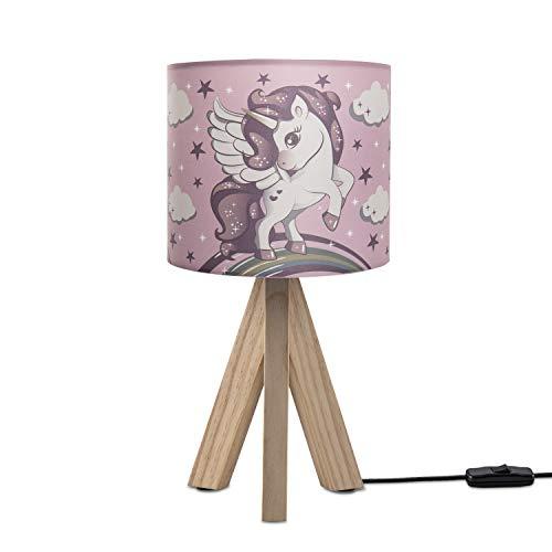 Paco Home LED Kinderlampe Lampe Kinderzimmer Tischlampe Nachttischlampe Einhorn E14, Lampenfuß:Tischleuchte Holz + Leuchtmittel, Lampenschirm:Pink (Ø18 cm)
