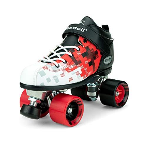 Riedell Skates - Dart Pixel - Quad Roller Speed Skate | Black & Red | Size 6