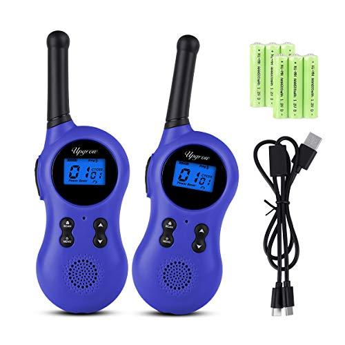 Upgrow 2X Walkie Talkies Set Kinder Funkgeräte mit Ladegerät und Akkus 3KM Reichweite 8 Kanäle VOX Taschenlampe Walki Talki Spielzeug für Kinder mit 6 Akkus Wiederaufladbar (T799 Blau)