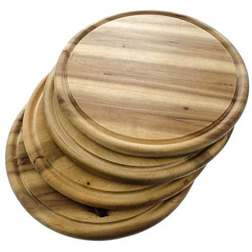 SIDCO Schneidebrett 4 x Fleischteller Brotzeitbrett Vesperteller Holzteller Akazie Ø 25 cm