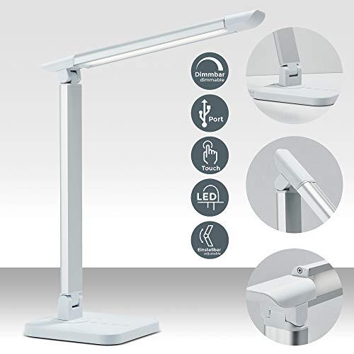 LED Schreibtischlampe 7W | dimmbare Tischlampe mit USB-Port | inkl. LED-Leuchtmodul mit Memory-Funktion | 11 Helligkeitsstufen | 3 Farbtemperaturen | Touch Control | 500lm | weiß