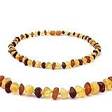 JFFM Collar Clásico Collar de ámbar Natural Auténtico Collar de Piedra de ámbar báltico para niños Regalo 33 CM Collar de bebé Crudo Multicolor