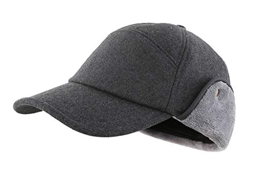 Home Prefer Earflap Ball Cap for Men Trucker Hat Baseball Dad Cap Relaxed Fit Earflap Hat with Visor Dark Grey Large