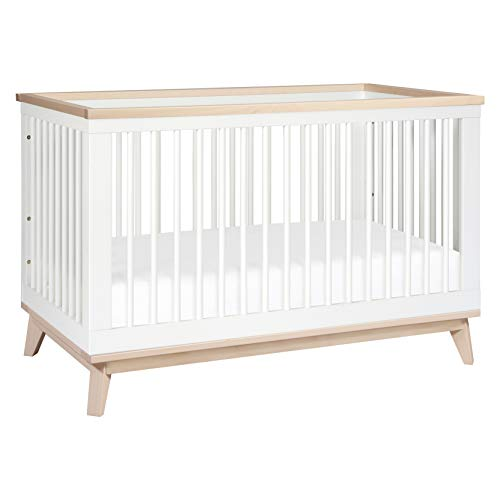 Babyletto Scoot 3-in-1 Convertible Crib with Toddler Bed Conversion Kit in White / Washed Natural, Greenguard Gold Certified, standard size
