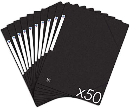 OXFORD TopFile+ Lot de 50 Chemises Cartonnées 3 Rabats Format A4 Fermeture Elastiques Noir