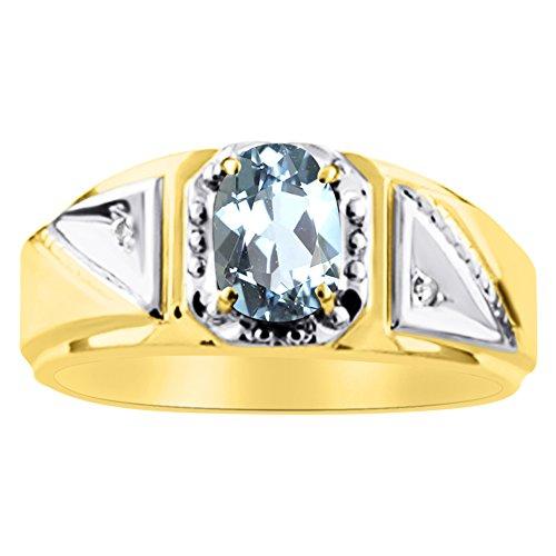 Diamant et aigue-marine Bague en argent sterling plaqué or jaune ou
