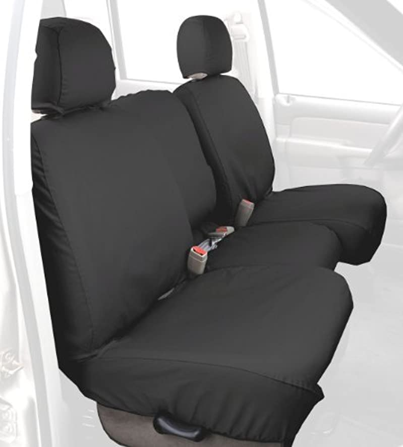 Covercraft SS2359PCCH Custom-Fit Front Bench SeatSaver Seat Covers - Polycotton Fabric, Charcoal Black