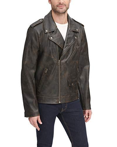 Levi's Men's Faux Leather Motorcycle Jacket, Vintage Brown, Large