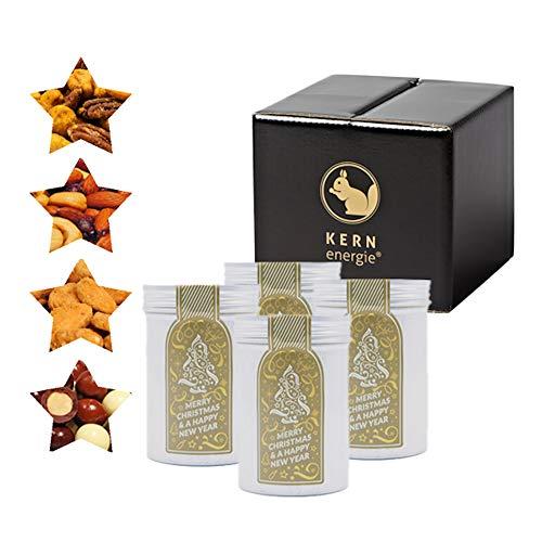 KERNenergie kleines Weihnachten Geschenk-Set, Nuss-Mischung – schokolierte, kandierte und geröstete Nüsse in edler Geschenk-Box, 4 x 60 g