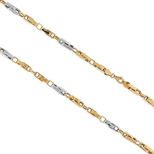 Catena segmenti grande in oro bianco e giallo 14kt, per uomo o donna, lunghezza 48cm
