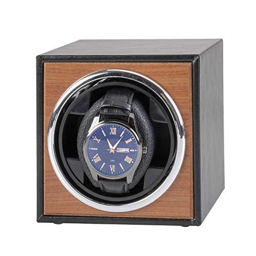 FLOX Automatische Single Watch Winder Box Aufbewahrungsvitrine für PU-Lederuhren mit Geräuschmotor und Schiebeabdeckung USB Universal-Wippe mit Automatikaufzug und 3-Rotationsmodus