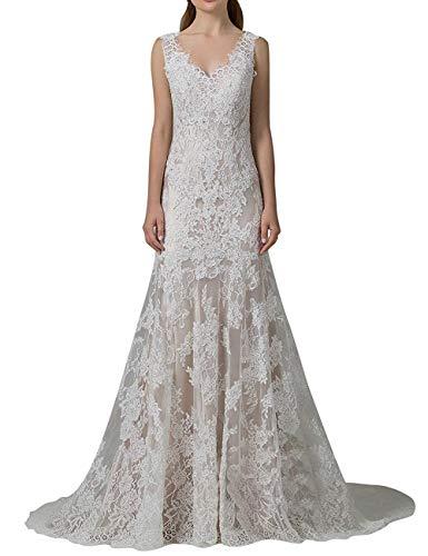 Sheath/column Off-the-shoulder Sweep Train Lace Wedding Dress