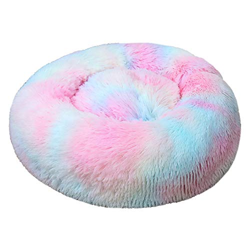 J With a cave-style dog bed for comforting dogs, a warm bed for dogs and cats, orthopedics and sleep improvement, tie-dye rainbow colors, diameter 40cm-120cm