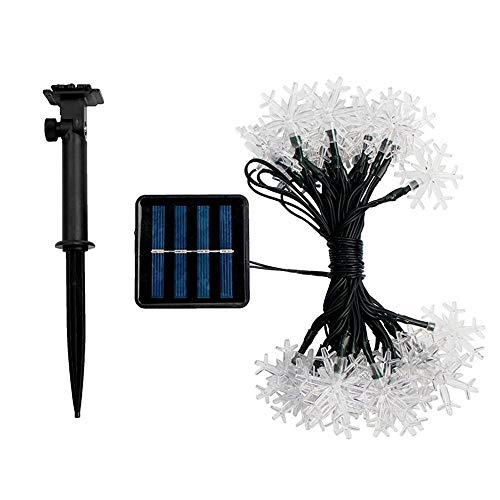 Zhong Solar Light LED Snowflake Light String Led Outdoor Waterproof Christmas Garden Garden Decoration Light (50 Eight-Mode White Lights)