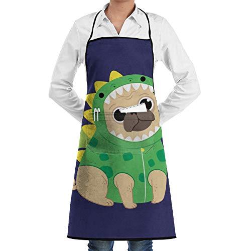 Kitchen Aprons Cachorro De Dibujos Animados En Un Disfraz De Dinosaurio Verde Delantal De Cocina Delantales De Cocina Delantal De Babero De Jardinera Regalo De Caf Impermeable Re