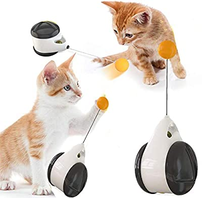 MOMSIV Cat Toy, Interactive Toys for Indoor Cats with Ball Black ball, Cats Kitten Toys with Food Dispenser Puzzle Entertainment Self Rotating Toys,interactive Rotating Mode cat supplies