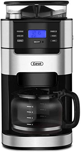 10-Cup Drip Coffee Maker, Grind and Brew Automatic Coffee Machine with Built-In Burr Coffee Grinder, Programmable Timer Mode and Keep Warm Plate, 1.5L Large Capacity Water Tank, Removable Filter Basket, 950W, Black