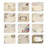 Ndier 12 sobres para tarjetas de felicitación de estilo retro bonito y especial para Navidad, bodas, fiestas de cumpleaños (12 diseños diferentes) papelería y productos para oficina