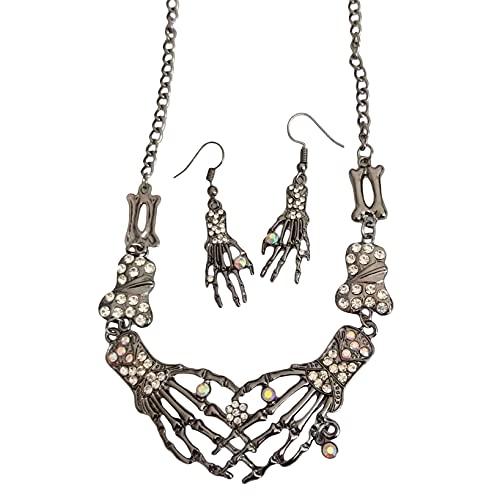 Aiasiry Conjunto de aretes de Collar de Calavera de Halloween, Accesorios con Colgante de Tibias Cruzadas Punk para Mujeres y niñas (Plata Antigua)