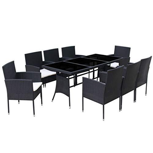 Festnight 9-delige Tuinset met kussens poly rattan Eettafel en stoel salontafel voor eetkamer woonkamer keuken zwart