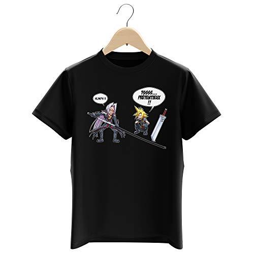Okiwoki T-Shirt Enfant Garçon Noir Parodie Final Fantasy VII - FFVII - Clad et Sephiroth - Prétentieux !! (T-Shirt Enfant de qualité Premium de Taille 11-12 Ans - imprimé en France)