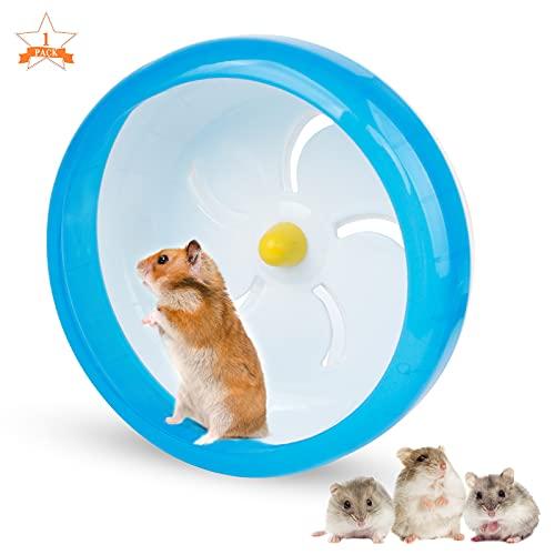 Bigxin 1Pcs Rueda para Animales Hamster Bola Hámster, Rueda Hamster Silenciosa Rueda de Plástico para Hámster, Rueda para Cobayas Ratones, Herbos, Ratas Mascotas Pequeñas (17cm, Azul)