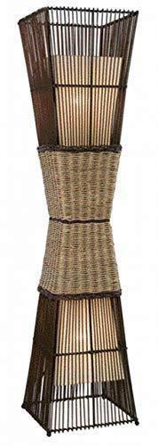 Nino 40050243 Bamboo - Lámpara de pie de bambú (altura 130 cm, 2 bombillas, con 2 pantallas de tela en el interior de la estructura de bambú), color marrón y beige
