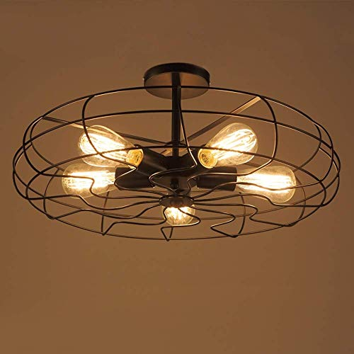 ZAKRLYB. 5 luci nero retrò stile industriale ventilatore in metallo gabbia luce di soffitto semi a filo montaggio rustico ciondolo luce montaggio ferro E27 Edison lampada a sospensione apparecchio for