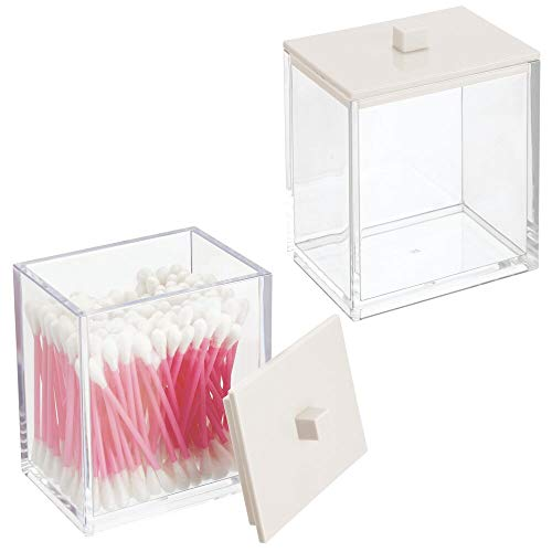 mDesign Modern Square Bathroom Vanity Countertop Storage Organizer Canister Jar for Cotton Swabs, Rounds, Balls, Makeup Sponges, Bath Salts - 2 Pack - Clear/Cream