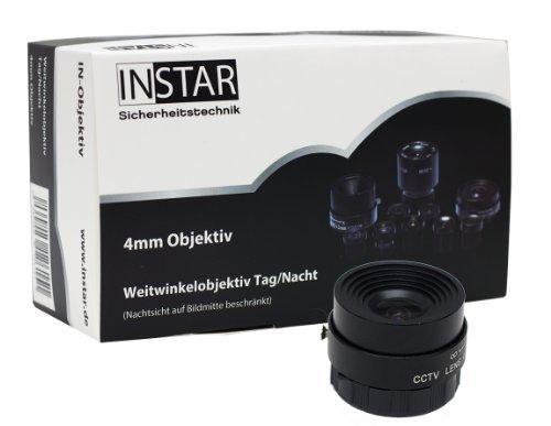 INSTAR Weitwinkelobjektiv für IN-5907HD / Weitwinkel / 90 Grad Blickwinkel / 4mm Brennweite / CS-Mount / Objektiv / Lens