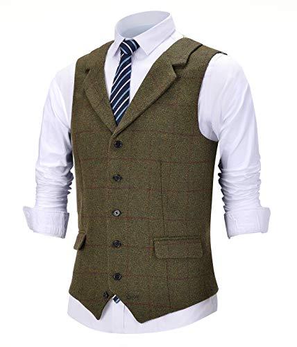 Solove-Suit Herren Formale Kerbe Revers Slim Fit Karierte Weste Tweed Anzug Weste für Groomsmen(M, Armeegrün)