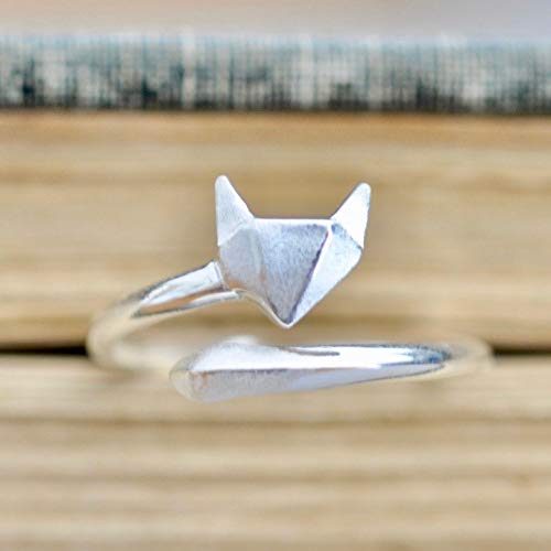 Origami Fox Ring in Sterling Silver Size Large (7.5-9.5)